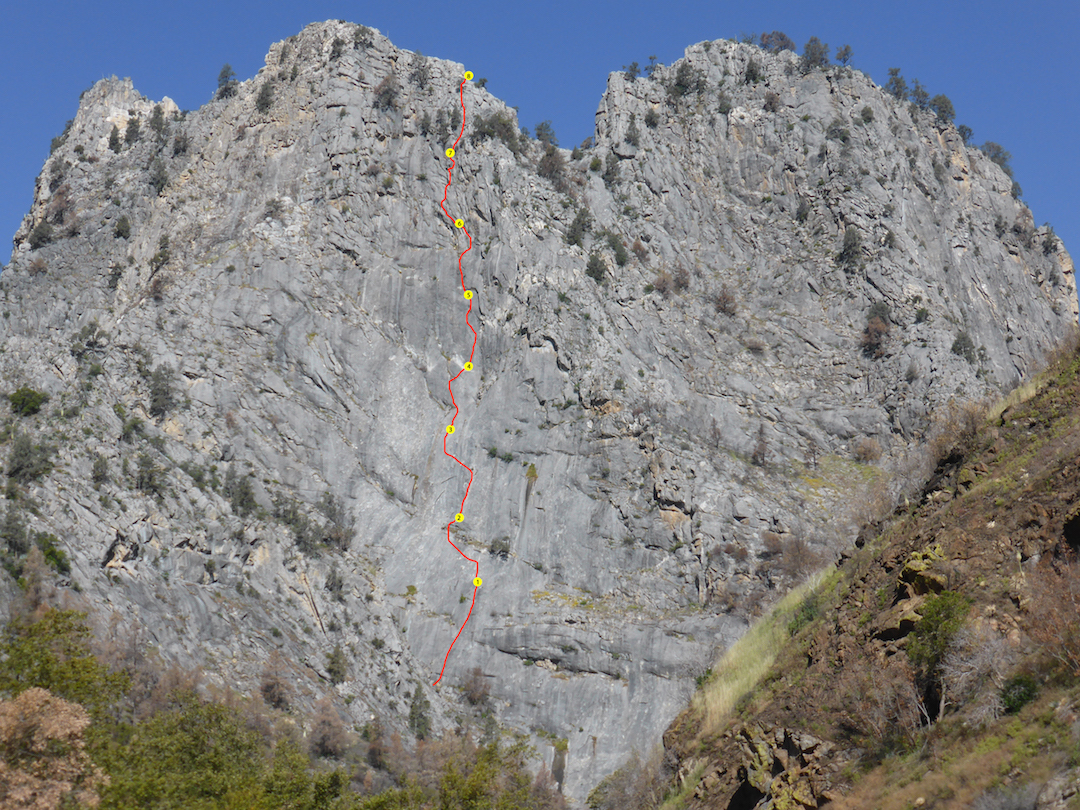 The Boyden Cave Wall in Giant Sequoia National Monument, showing the eight-pitch Magic Mountain Marble Majesty, completed by Neal Harder and Brandon Thau in October 2016.