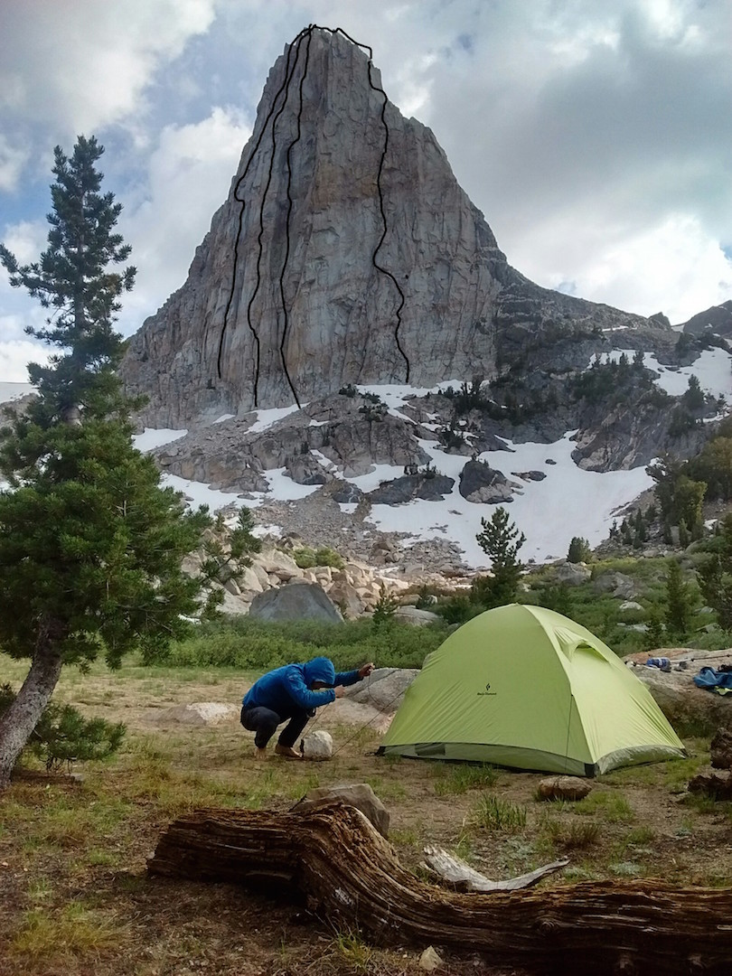 Pete Fasoldt and Jonathan Schaffer's camp below Flatiron Butte, showing the four new routes they completed ground-up in just three days. From left to right: Triple Beam Dream (5.11+), Straight Flush  (5.11+), Notorious RBG (5.11+), and Throat Yogurt (5.11-).