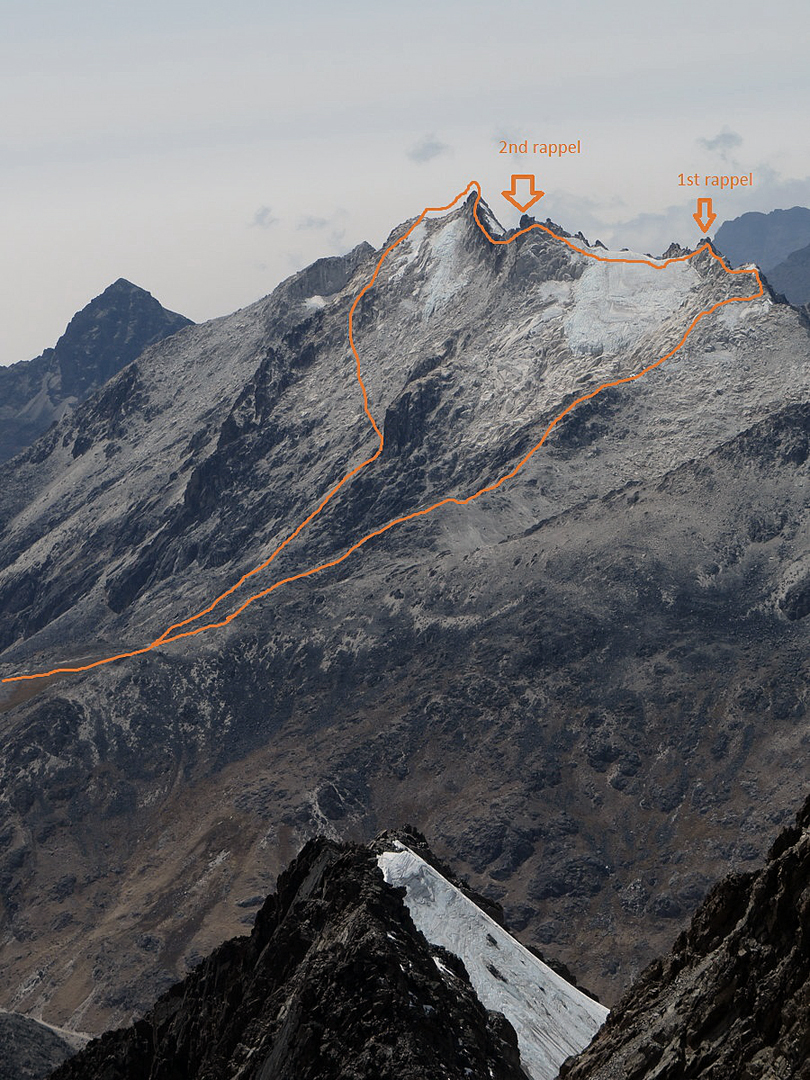 Cerro Mullu Apacheta seen from the summit of Cerro Wila Lloje to the west, with the line of the 2016 traverse.