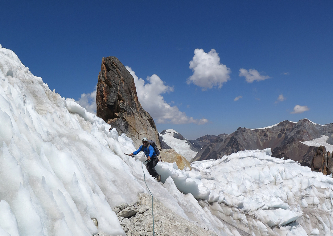 Chris Knight about to leave the first penitente field and start the climb to the second-highest summit on Cerro Mullu Apacheta.