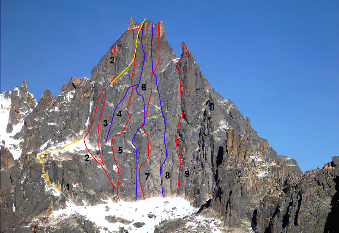 The northwest face of Los Cuernos del Diablo. (1) La Clasica (5, Bulter-Rebitizer, 1987). (2) Condori-Daza (230m, six pitches, 5c+, Sergio Condori and Cecilio Daza, April 2011). (3) Monasterio Variation Start (6b, Erik and Grigota Monasterio, 1998). (4) Loken-Hendricks-Selters (five pitches, 5.10a, Brent Loken, Bruce Hendricks, and Andy Selters, May 2001). (5) Tyapi K'ala (240m, seven pitches, 6a+, Sergio Condori and Cecilio Daza, April 2011). (6) Loken-Hendricks-Selters (IV 5.10a, Brent Loken, Bruce Hendricks, and Andy Selters, May 2001. This team was probably the first to climb the ca 10m monolith that makes up the highest of the summit horns. Their route uses the lower section of the 1987 Lentrodt-Magerer Route (5+ A2). (7) Inti Wiracocha (270m, seven pitches, 6b+, Sergio Condori and Cecilio Daza, April 2011). (8) Loro Paceño (six pitches, 6c+, Pacifico Machaca, Sebastian Rojas, and Alex von Ungern, May 2016. After joining Inti Wiracocha, this climb finishes up the Condori Variant). (9) Waxcha Wawita (200m, six pitches, 6b, Sergio Condori, Juliana Garcia, and Roberto Morales, May 2013). All lines approximate. Other parties have claimed lines on this face in the past, generally toward the left side, and these may coincide in part with those drawn on this topo. Bolivian guides have bolted the belays on most of the established routes.