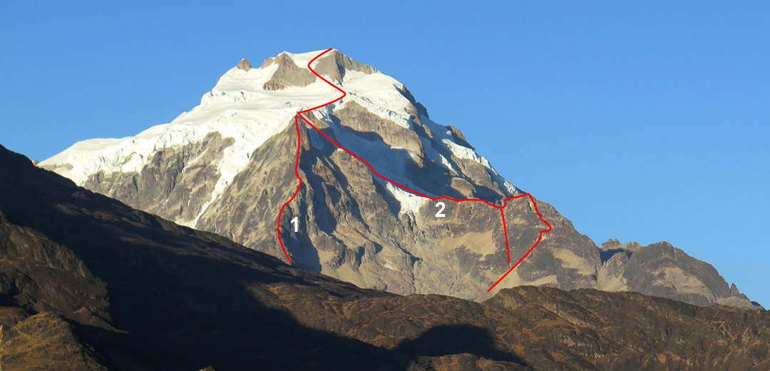 Huayna Potosi from the northeast, showing (1) Bicophobia (2010) on the northeast ridge of Pico Mesili and (2) Aspirante 2016 on the north ridge. (The 2016 group took two lines to minimize the consequences of rockfall.) Bicophobia and Aspirante 2016 join near Pico Mesili. The line drawn in the upper section is that taken in 2016; the French in 2010 continued up right to the ridge and then back left to the summit. The original ascent of the northeast ridge above Pico Mesili is unknown.