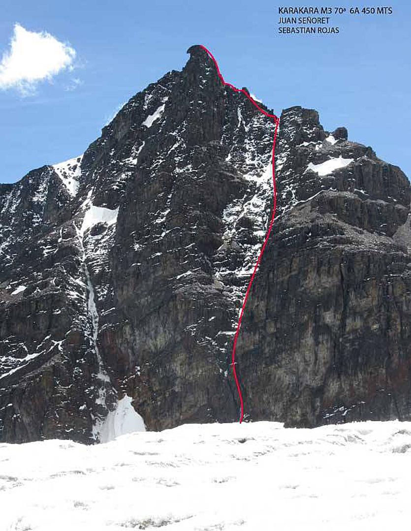 Janchallani (ca 5,400m), with its summit resembling the head of a caracara bird, and the 2016 line Karakara.