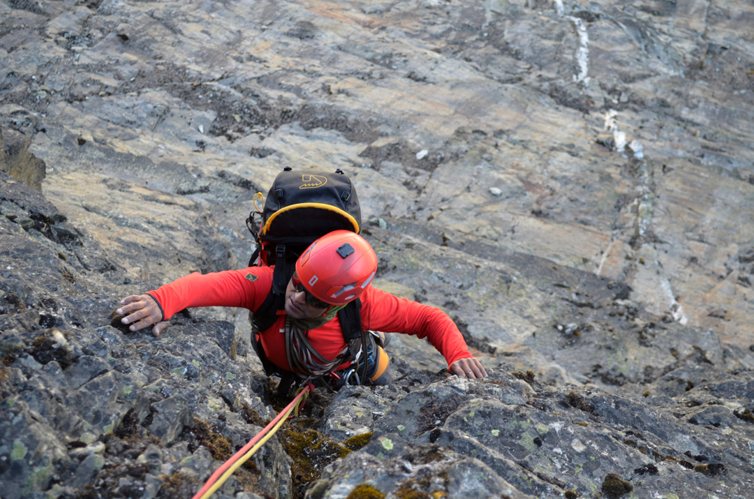 Marcelo Gomez reaching the belay at the end of pitch one of Patagonian Sunset.