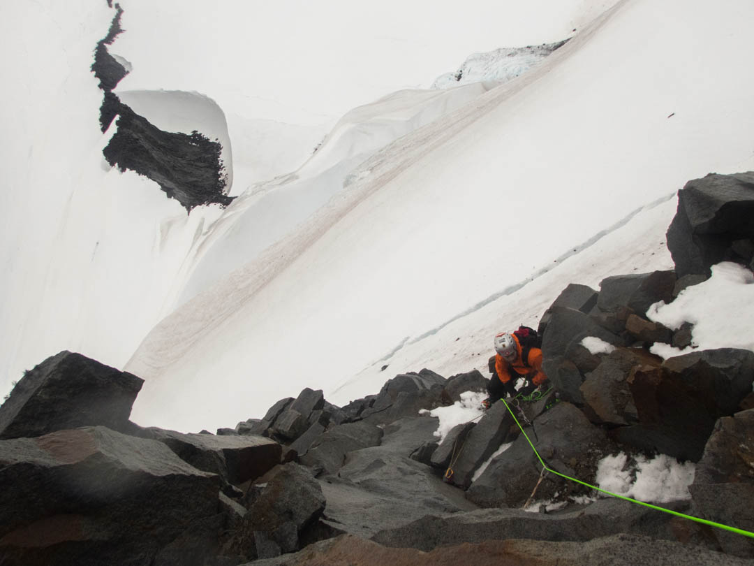 :  Evan Miles on the first mixed pitch of Monte Cloue.