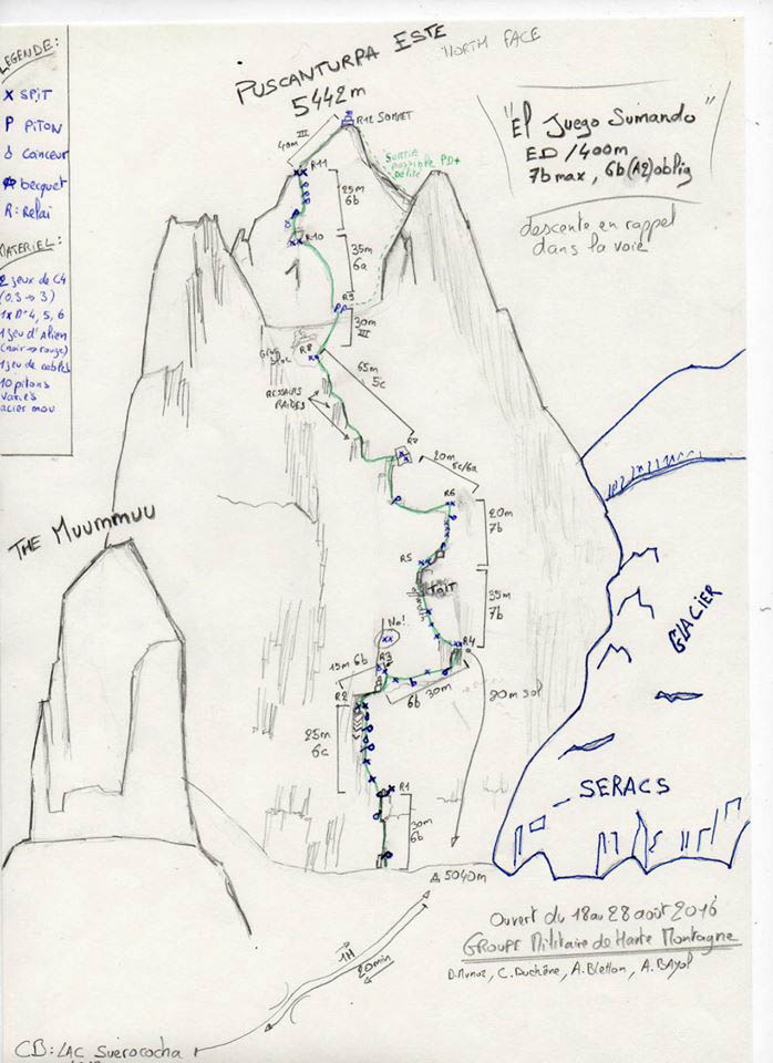 A topo for El Juego Sumando on the north face of Puscanturpa Este (5,445m).