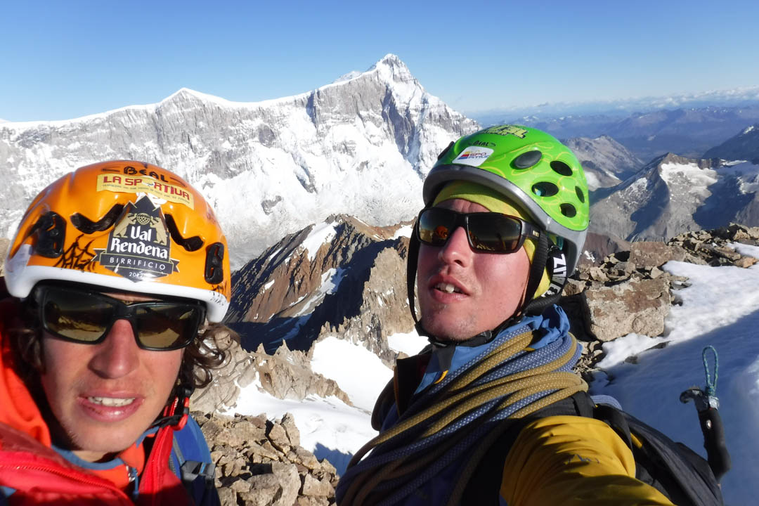 The Franchini brothers on the summit of Cerro Penitentes, with San Lorenzo in the background.
