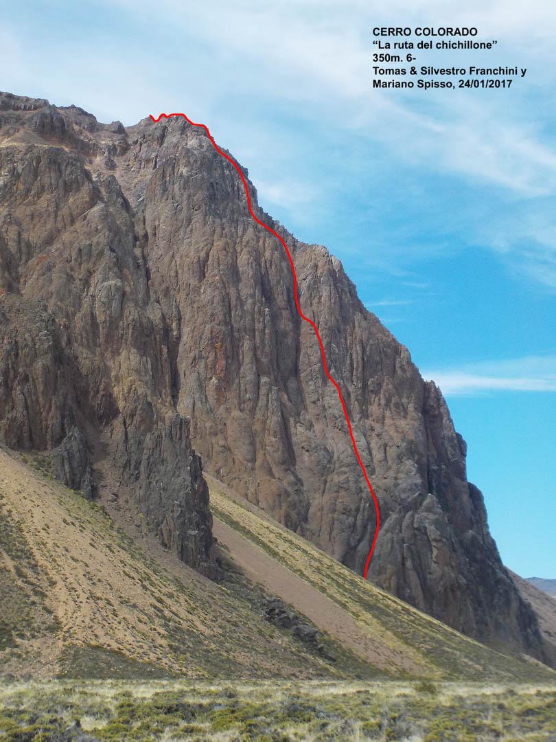 La Ruta del Chinchillone (350m, UIAA VI-) on Cerro Colorado.