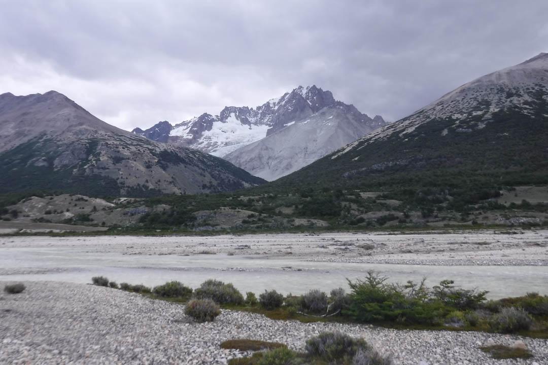 Cerro Penitentes as seen from the Rio Lacteo crossing.