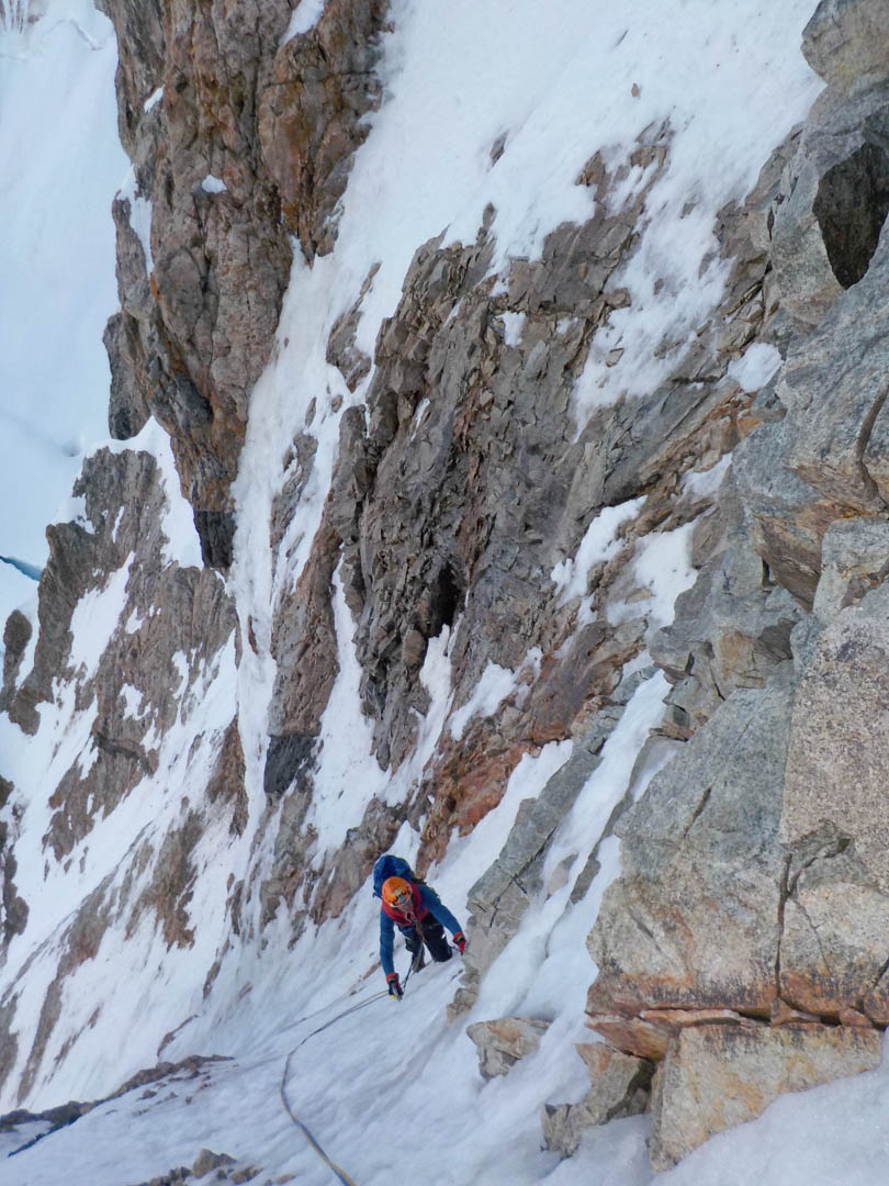 In the nice ice goulette of El Mariano (750m, 85° M4) on the southeast face of Cerro Penitentes.