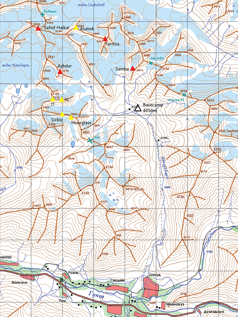 Sketch map of the area surrounding the Shadzud Valley, showing the four peaks climbed by the German Alpine Club in 2016 (in red) and some of the peaks summited by the 2010 U.K. expedition (yellow).