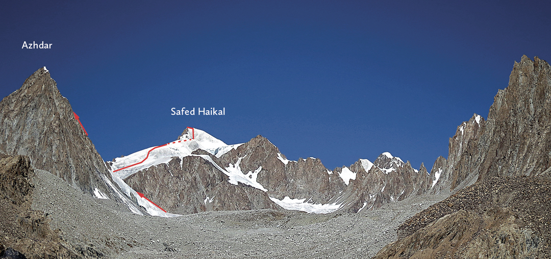 Looking northwest to rocky Azhdar (left) and snowy Safed Haikal, the highest peak in the Shadzud Valley. The approximate German route lines (2016) are marked.