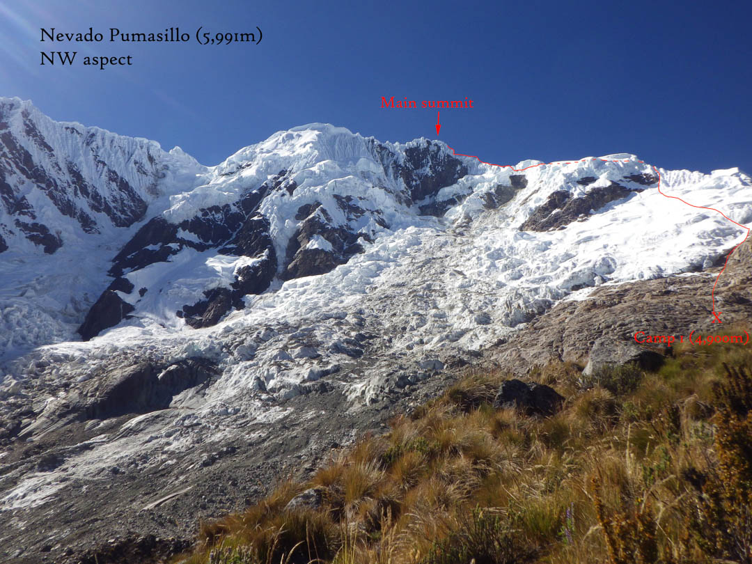 The route up the west ridge of Pumasillo (5,991m), first climbed in 1957. The 2016 team got to within 50m of the summit, rating the ridge TD+ WI4.