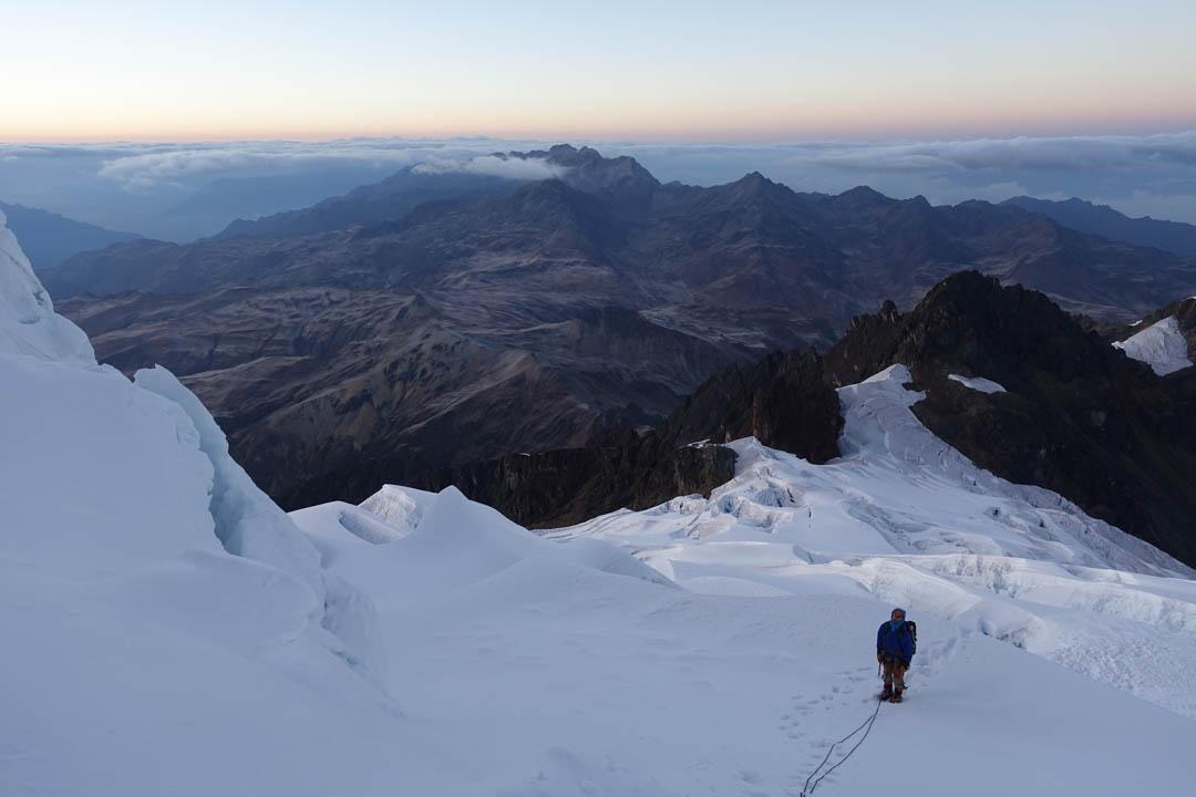 Starting up the lower south slopes of Nevado Panta.