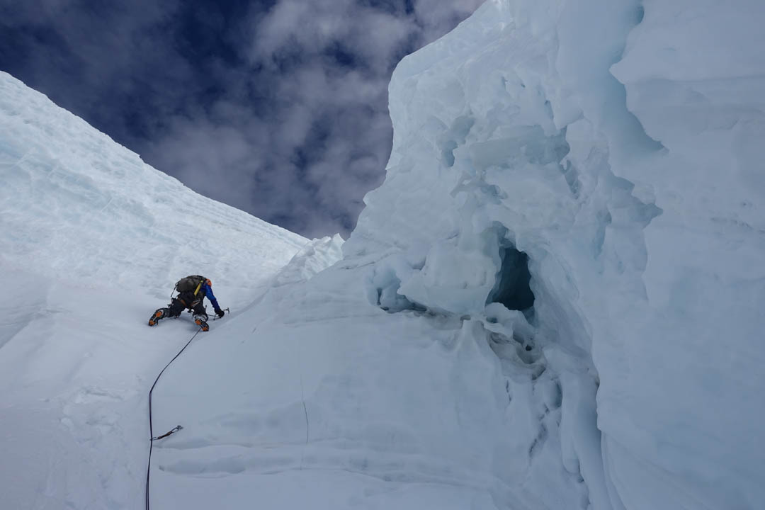 Nathan Heald leading steep ground below the summit plateau on Nevado Panta.