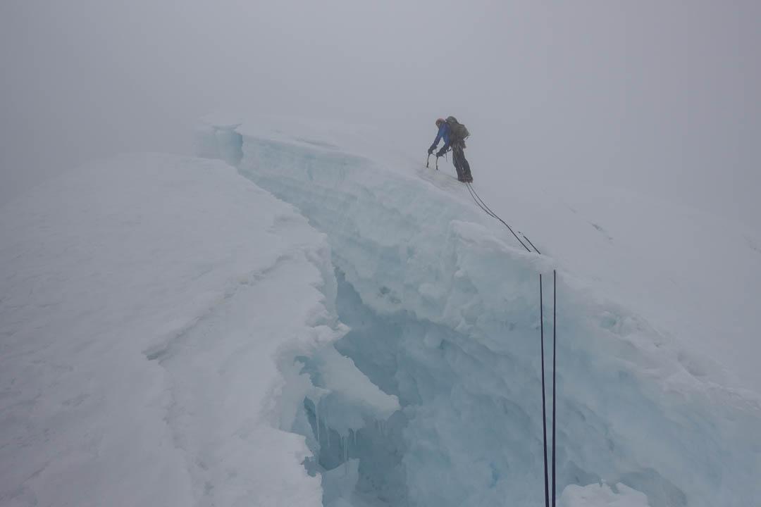 Nathan Heald arriving at the summit of Nevado Panta.