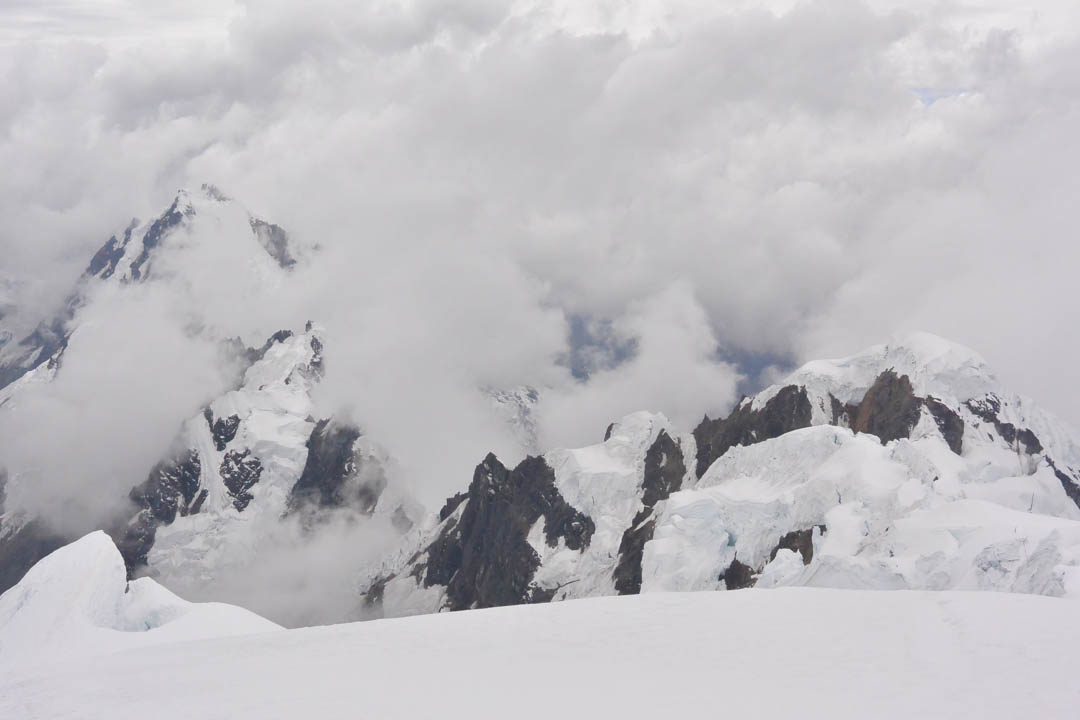 Looking down the northeast ridge of Nevado Panta toward Camballa (5,721m).