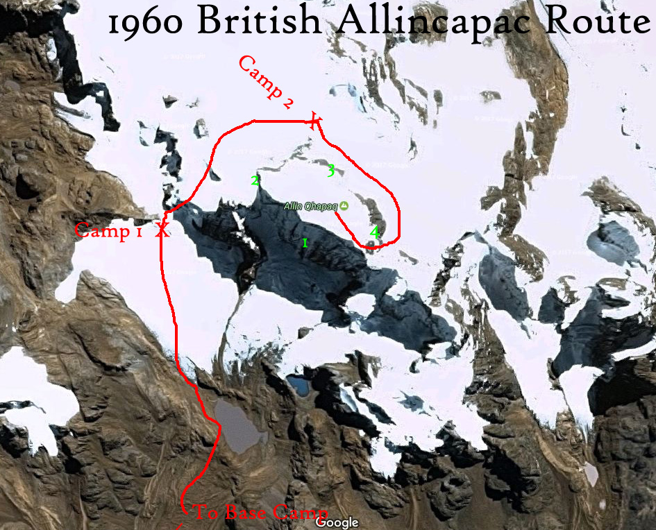 An illustration of the 1960 expedition's likely route clockwise around Allinccapac.