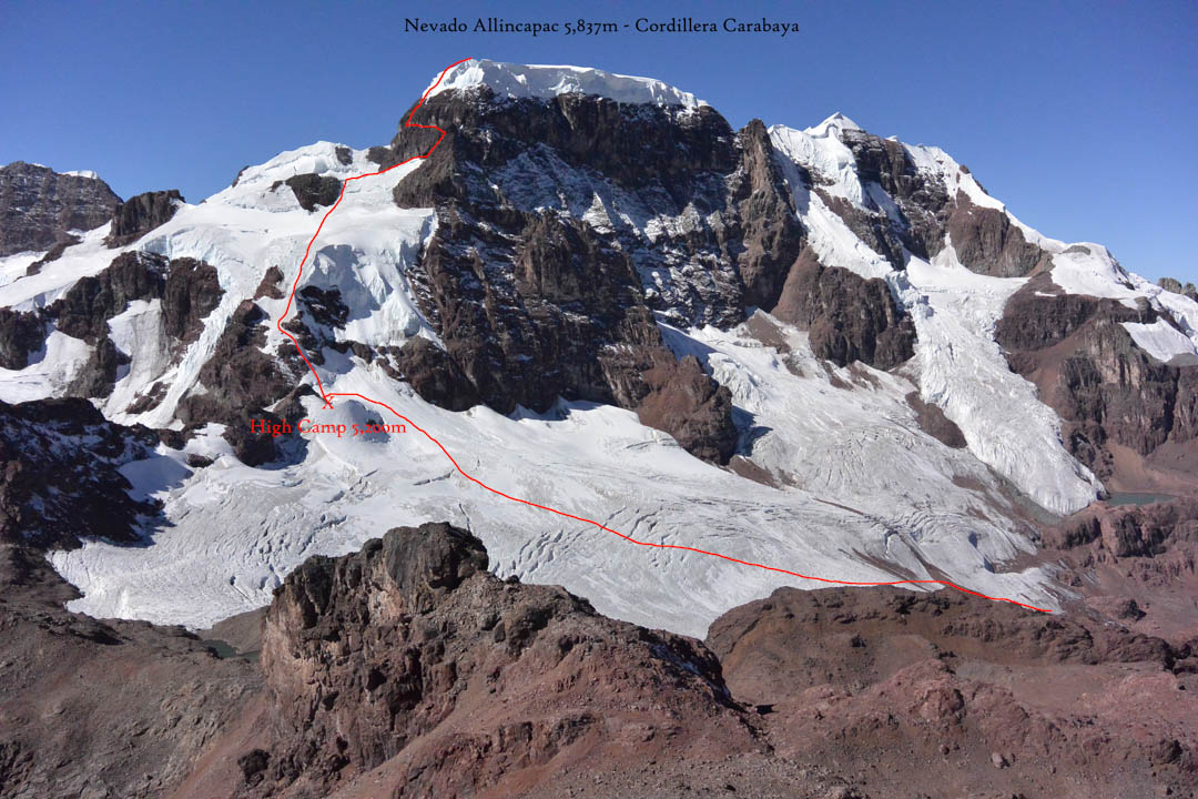 : The route up the west shoulder of Nevado Allinccapac (5,837m GPS), likely first climbed in 2008 and repeated, with possible variations, in 2016.
