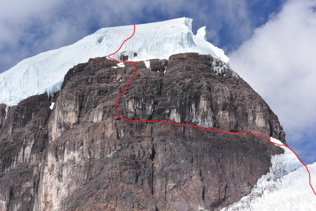 A close up of the 2016 team's route through the rock band and upper ice cap on Nevado Allinccapac.
