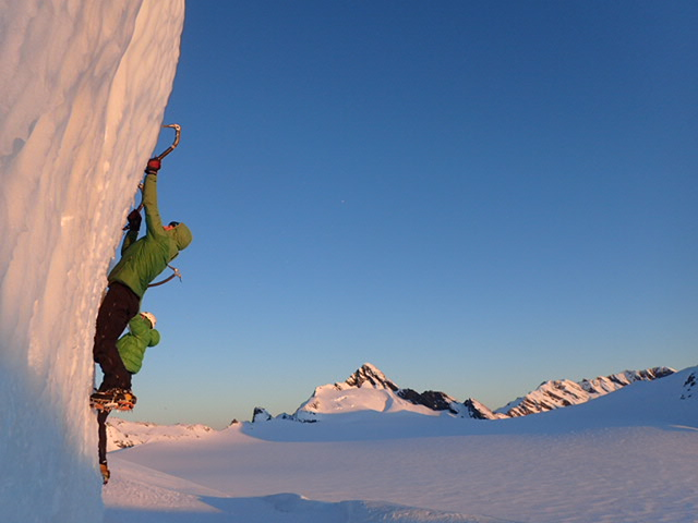 Ice bouldering on the Bonar Glacier.