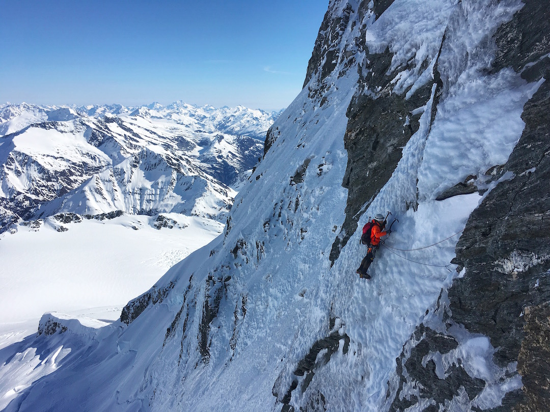 Lukas Kirchner on excellent alpine ice during the first ascent of Thales on the south face of Mt. Aspiring.