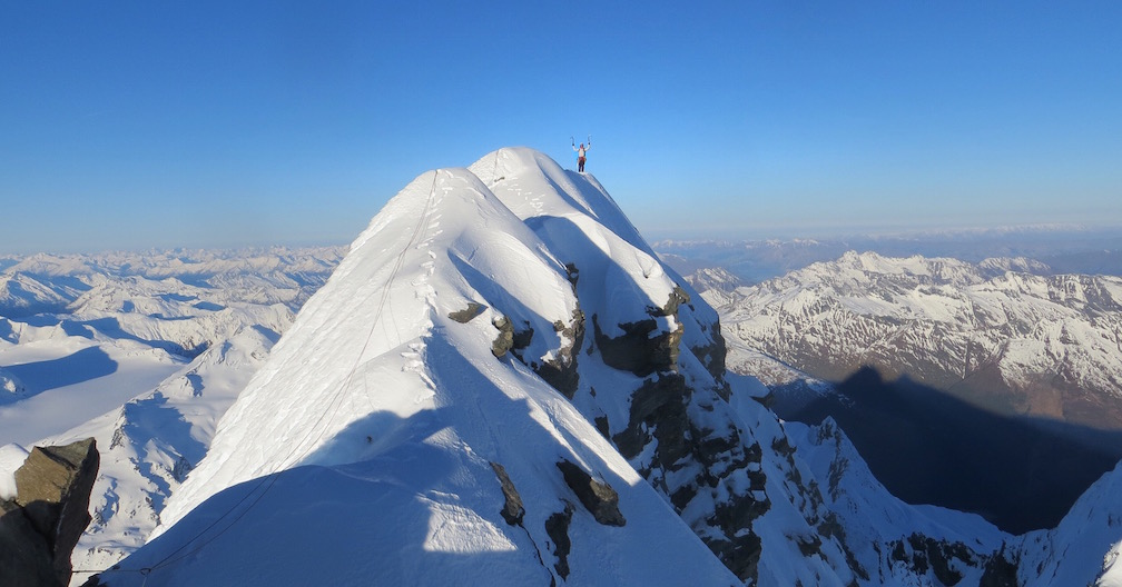 Janette Heung on the Coxcomb Ridge of Mt. Aspiring, having topped out on the south face by the new route Thales.