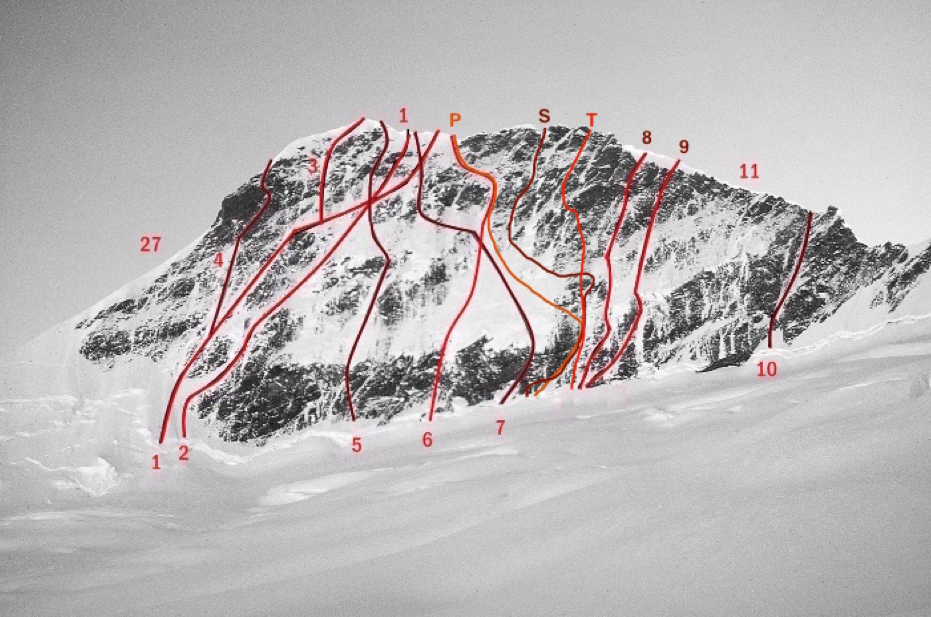 The south face of Mt. Aspiring, showing known routes. (T) marks the new route Thales (2016).