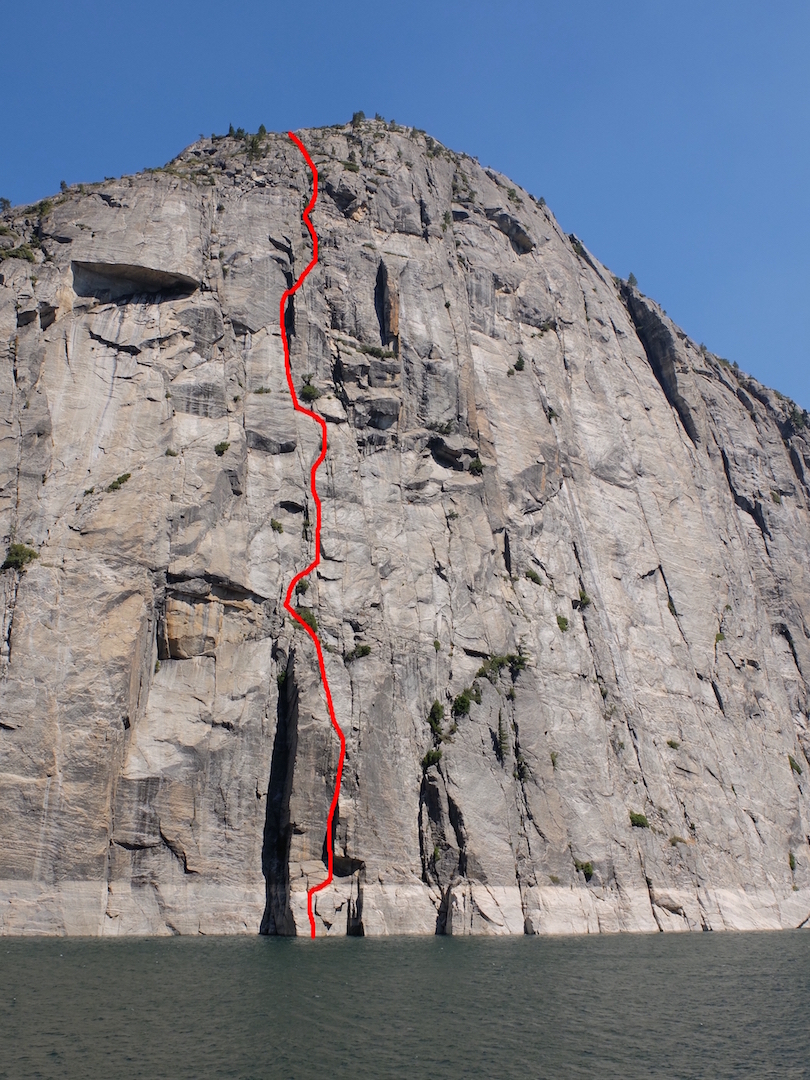 The Atlantis Wall of Broad Dome, above Donnell Reservoir in the Sonora Pass area. Sierra Swashbuckle (IV 5.11 C1) is the fifth full-length route reported on the wall, completed by John Greer and Julian Kuettner in August 2016. x