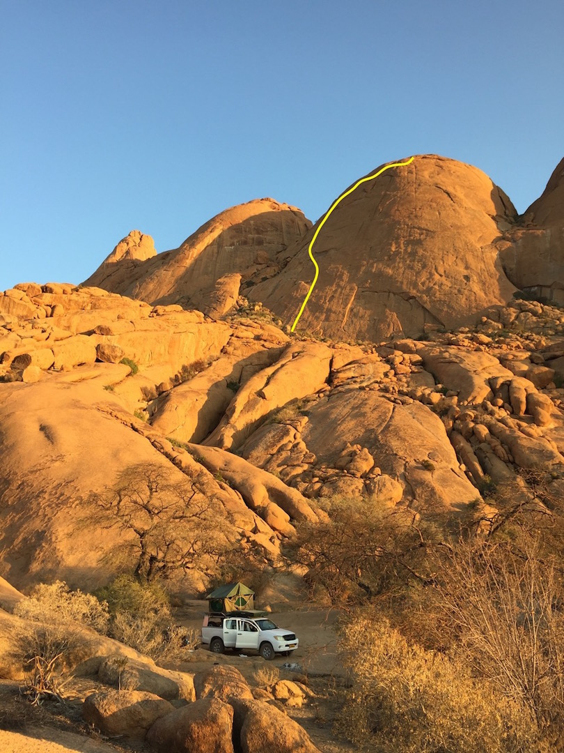 The line of Beyond Plaisir (12 pitches, 5.10a) on Pontok 3 in the Spitzkoppe Range.