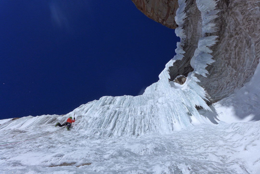 Ines Papert leading beautiful ice during the first ascent of Lost in China on the southeast face of Kyzyl Asker.