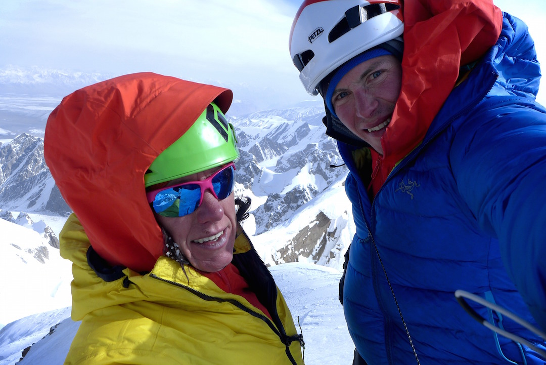 Ines Papert (left) and Luka Lindič on the summit of Kyzyl Asker.