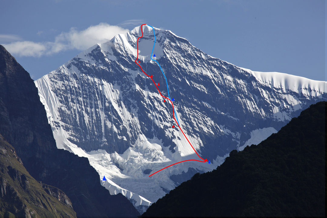 The south face of Gangapurna. The left-hand line is the 1981 Canadian Route, with five bivouac sites marked above the bergschrund camp. The right-hand line is the Korean Way, with two bivouac sites marked above the bergschrund camp. The camp on the left is the bivouac at 5,806m used to access the bottom of the face and also the south face of Gangapurna West.