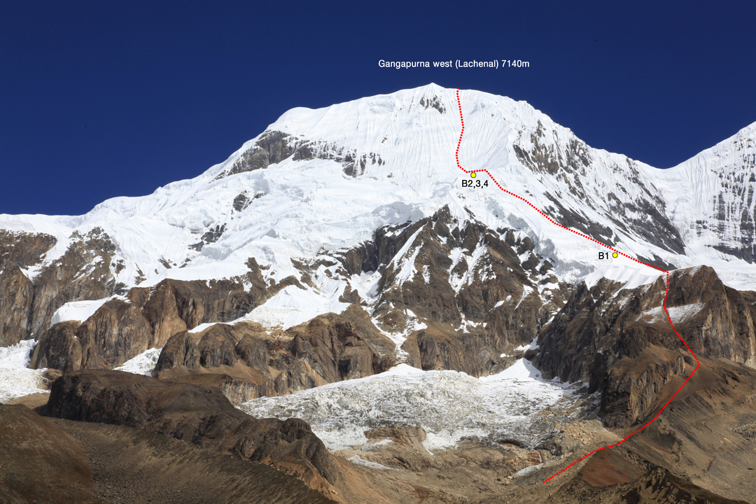 Gangapurna West from the south, with the route climbed to the summit ridge by the 2016 Korean team.