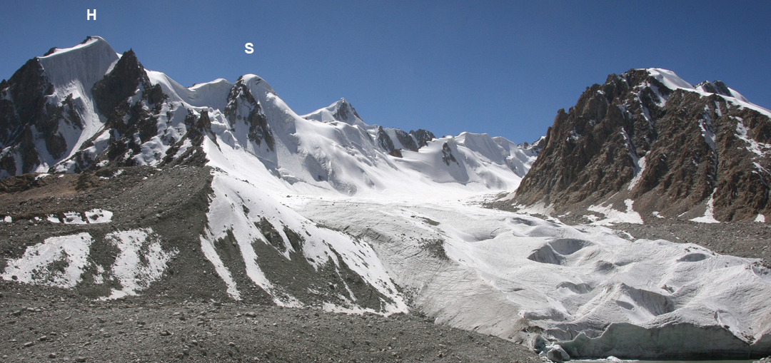 Looking at peaks west of base camp: (H) Hourglass (5,005m), climbed by its funnel-shaped east face ice couloir at D (300m, 60°), and (S) Sickle (5,052m), climbed by the north face visible in this picture.