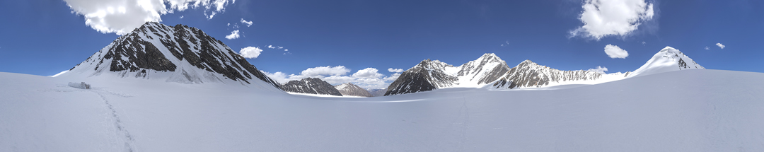 Looking up the Qara Jilga Glacier with Koh-e-Wakhan right of center. All other peaks are unclimbed.