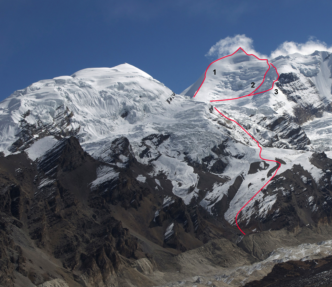 Himlung Himal (7,126m) from Gyaji Kang. The old normal route up the mountain, the northwest ridge (Japanese, 1992) traverses the left skyline. (1) The new normal route (Kobler expedition, 2013). (2) Dedicated to the Braves (2016), reaching the Lung La and finishing along the upper section of the southwest ridge. (3) Just for Him (2016). The climbers joined Dedicated to the Braves below the ridgeline and then descended. Just off picture to the right is Himjung (7,092m), first climbed in 2012 by a Korean pair (AAJ 2013).