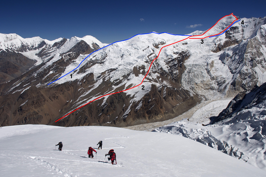 Himlung Himal (7,126m) from the northwest ridge of Gyaji Kang. At far left is the end of the Ratna Chuli group on the border with tibet. (1) The original and former normal route up Himlung Himal (Japanese, 1992). (2) The new normal route (Kobler expedition, 2013). (3) Dedicated to the Braves (southwest ridge, 2016). (4) Just for Him (west spur, 2016).