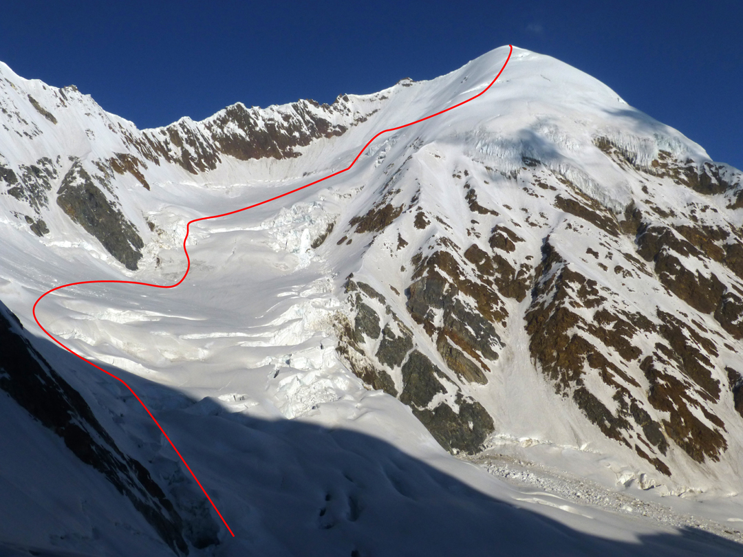 Vishnu Killa, seen from the Gimme Khal col, showing the route of the first ascent up the east glacier and south face. The ridge at far left leads to the unclimbed summit of Peak 5,880m.