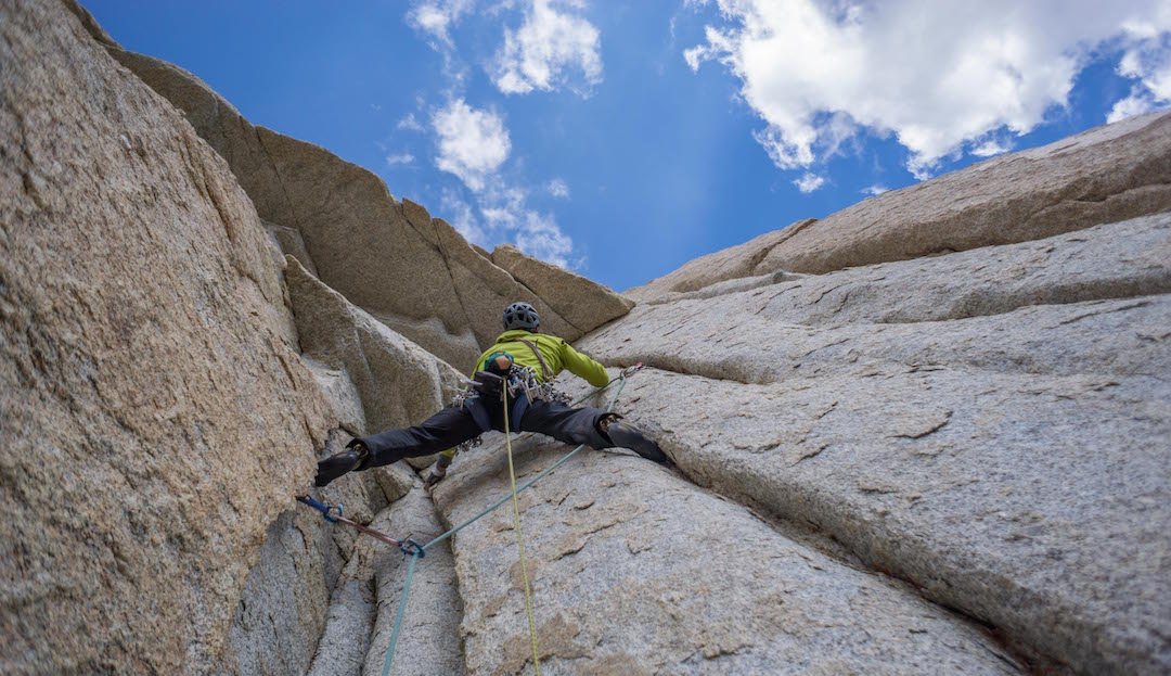 Brian Prince leads through one of the overhangs on Arctic Beast (5.11c).
