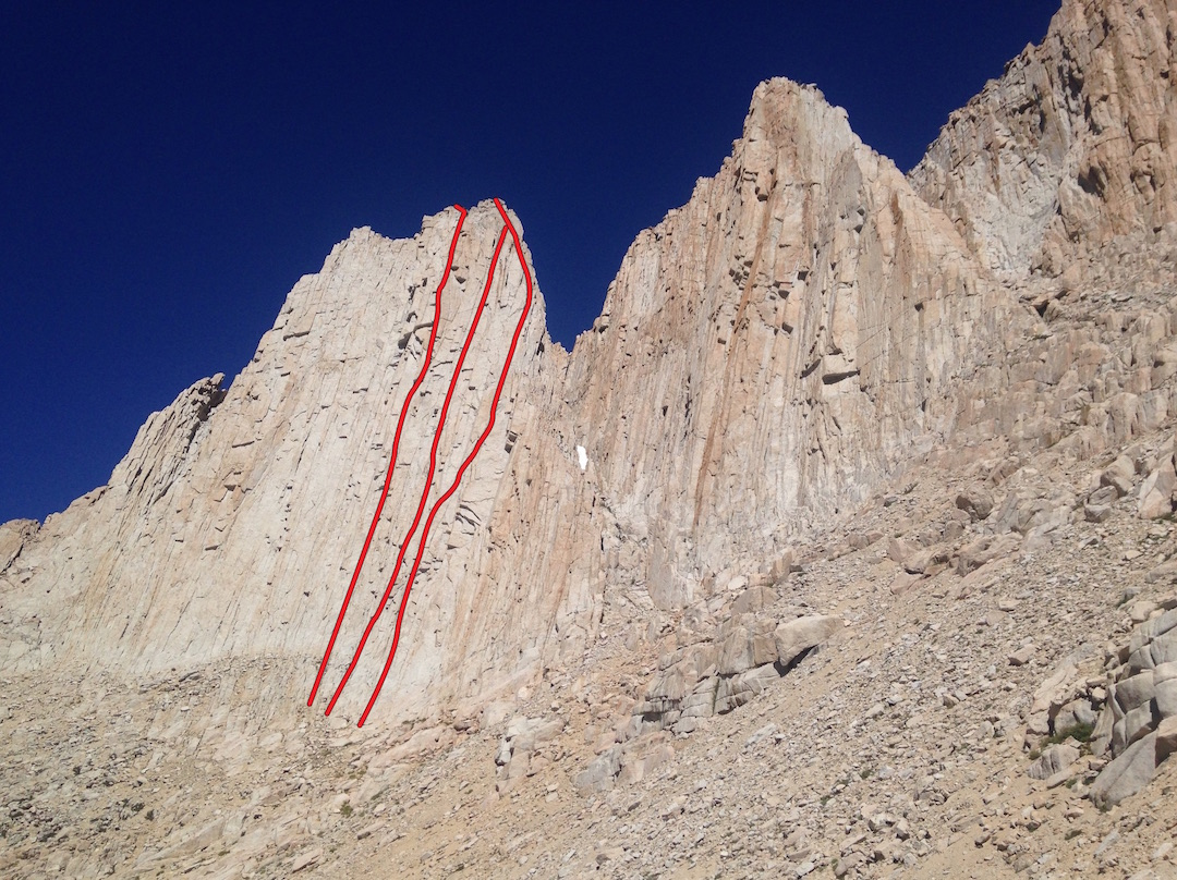 New lines on the western summit of the Arctic Lake Wall (from left to right): (1) Arctic Beast (5.11c), (2) Too Much Fun (5.10), and (3) Chillin' the Most (5.10-). It's believed there are several more routes on this face, but their exact position is not known.