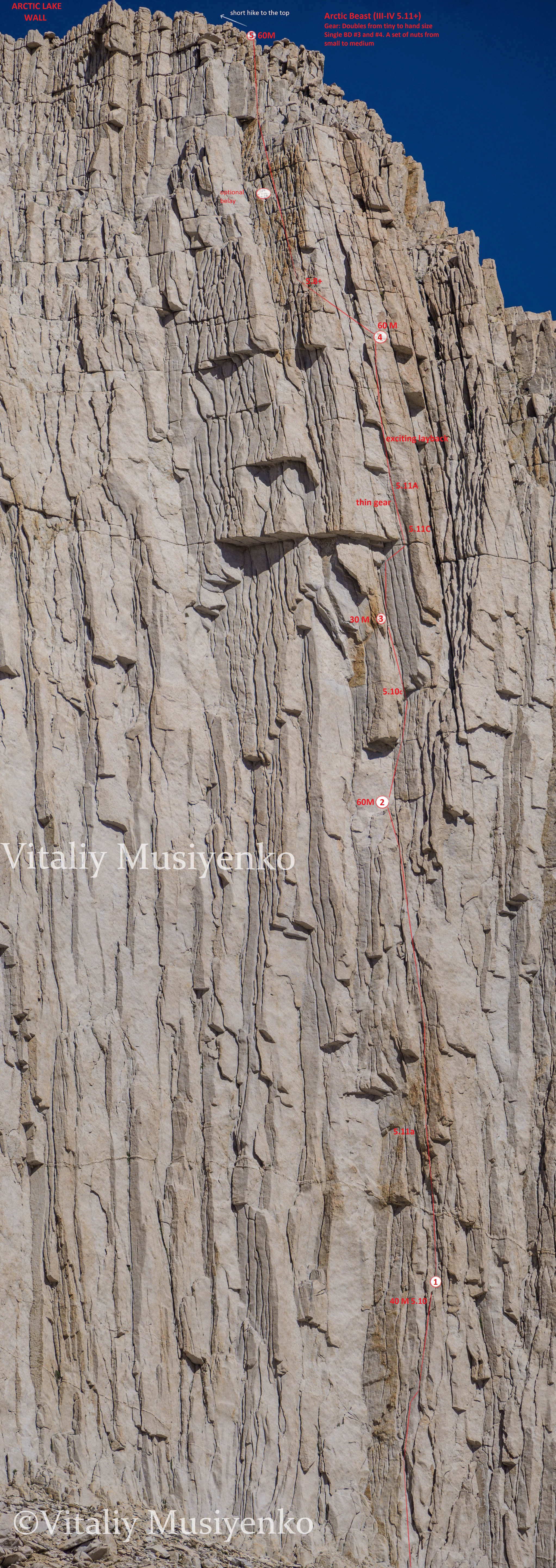 Photo-topo for the route Arctic Beast on the Arctic Lake Wall.