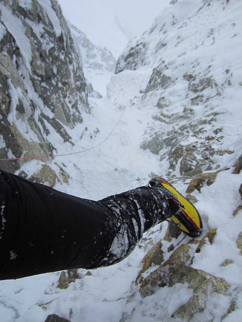 Climbing through the second crux of the Black Band on the Infinite Spur of Mt. Foraker. Colin Haley soloed the route in 12 hours 29 minutes on June 1.