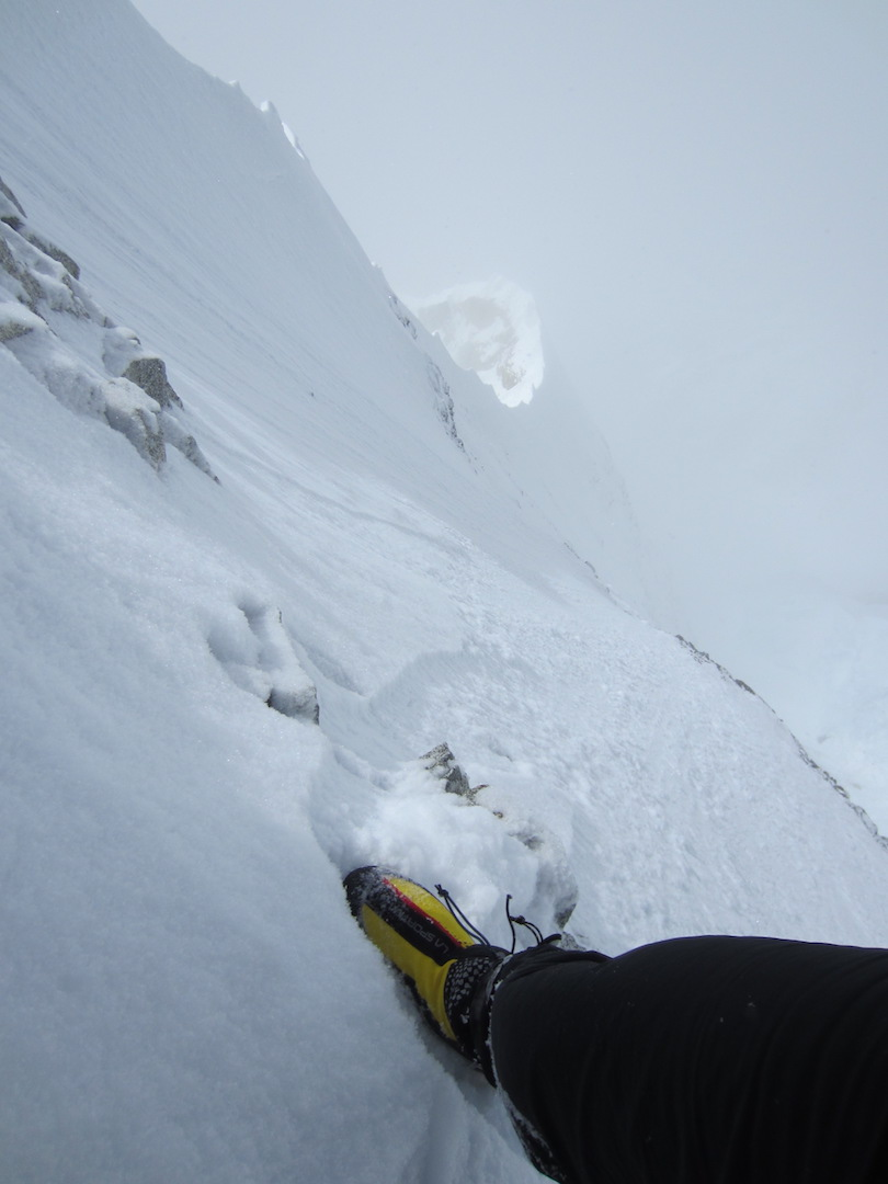 Looking down from near the top of the Knife-Edge Ridge on Mt. Foraker's Infinite Spur.
