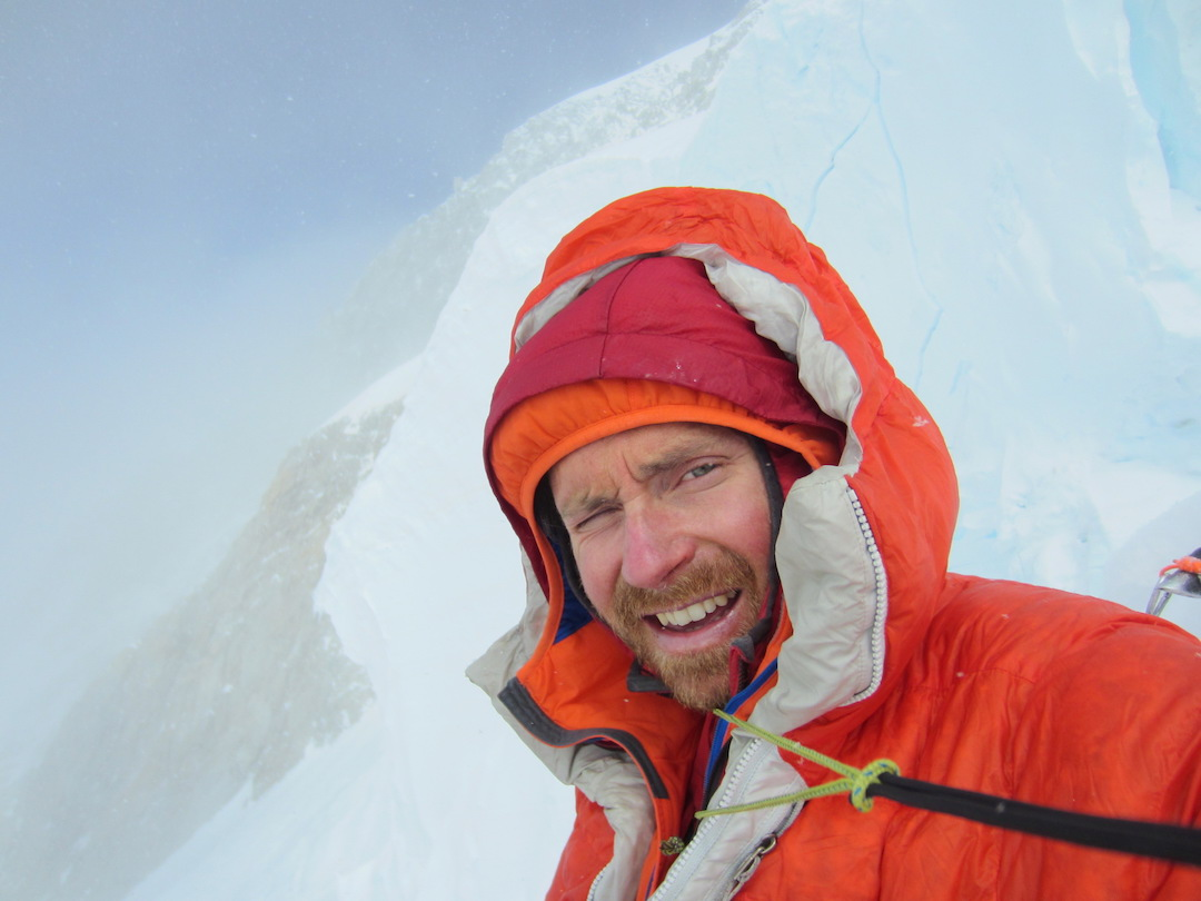 Self-portrait while taking a rest stop to melt snow at the end of the Knife-Edge Ridge on Mt. Foraker's Infinite Spur.