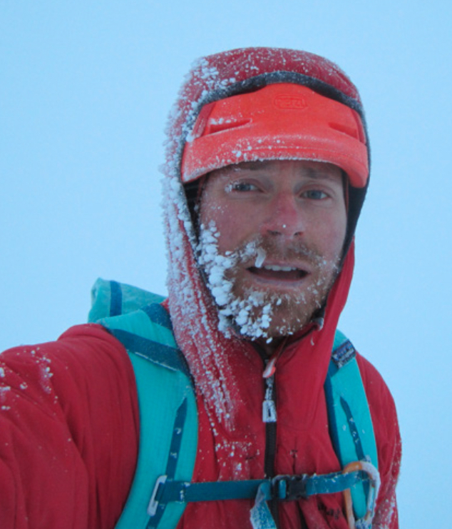 Colin Haley near the end of the long descent off Foraker.