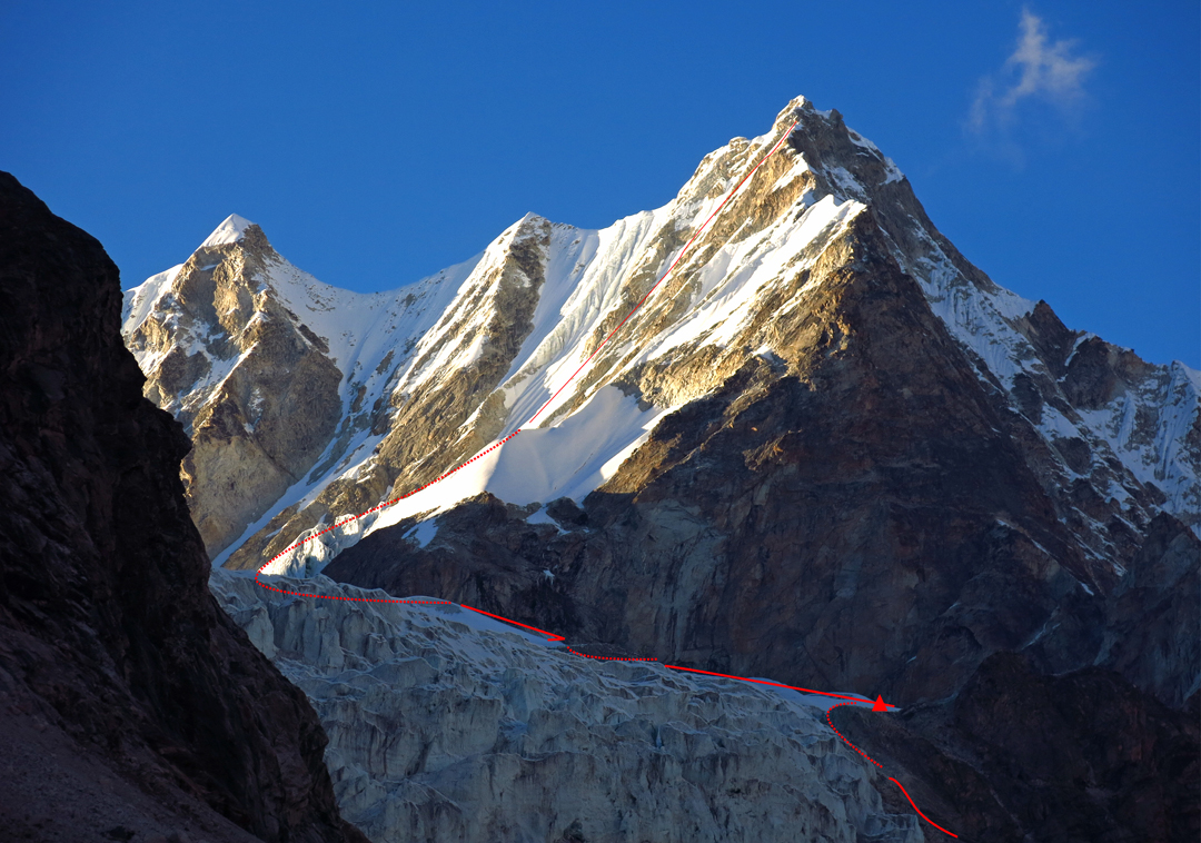 Langdung's south face from base camp at 5,000m, showing the route attempted by Furtemba Sherpa and Hari Mix in 2016. Their high camp at 5,500m is marked.