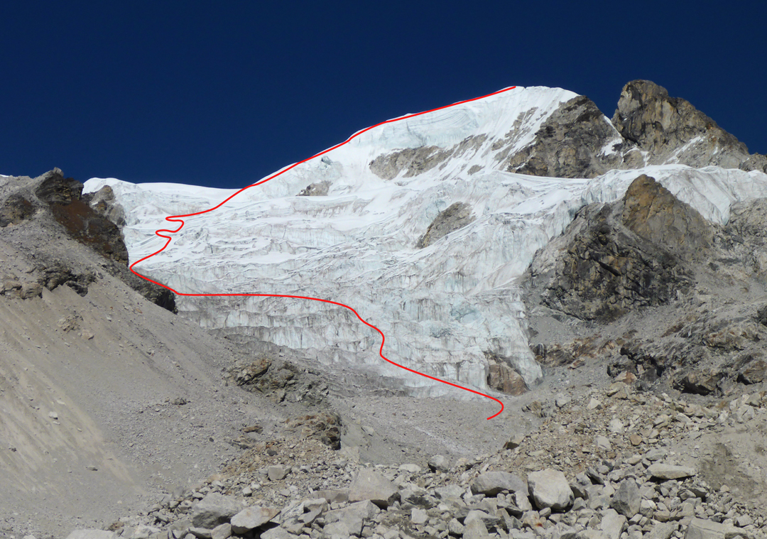 The south face and southwest ridge of Karbu Ri (6,010m GPS), the route followed to climb the peak in 2016.