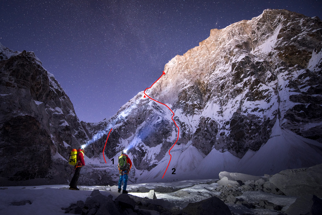 The west ridge of Lunag Ri forms the left skyline, rising from a 6,026m col. On the left are the flanks of Lunag West. (1) The 2016 attempt by Conrad Anker and David Lama. In 2015 the same pair had continued up this line to the west ridge and then climbed about 600m up the ridge. (2) David Lama's 2016 solo attempt and bivouacs.