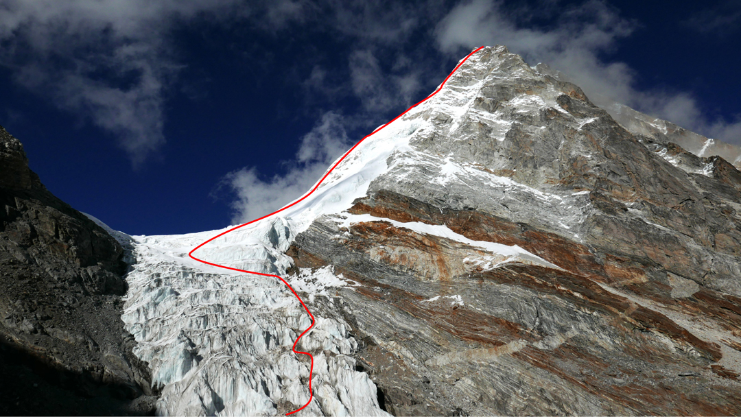 The south side of the Kangchung La and northwest ridge of Kangchung Shar, showing the route followed in November 2016.